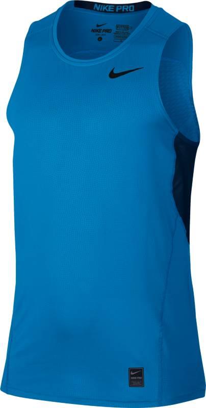 Майка для бега мужская Nike Hypercool Fttd Tnk, цвет: синий. 801248-436. Размер XL (52/54)801248-436Майка для бега Nike Hypercool Fttd Tnk выполнена из текстиля Dri-FIT, выводящего лишнюю влагу с поверхности кожи. Облегающий анатомический крой обеспечивает поддержку мышц. Круглый вырез горловины, плоские швы и сетчатые вставки обеспечивают комфорт.