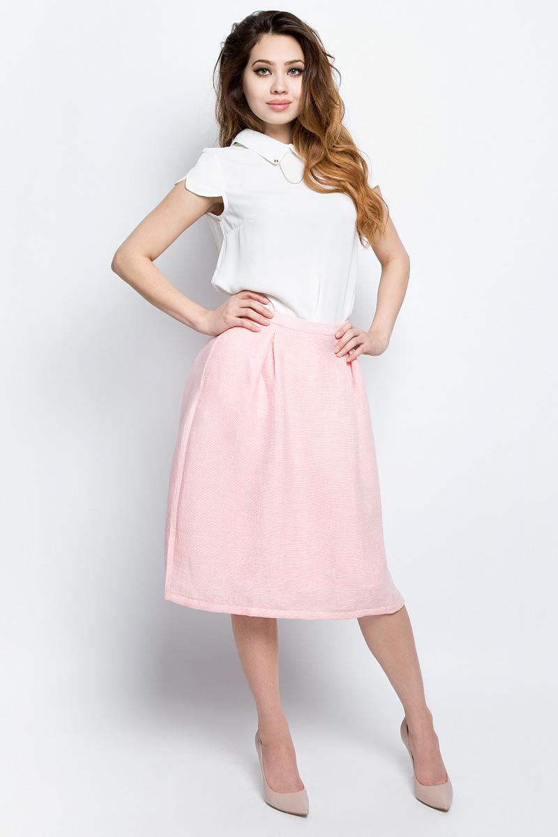 Юбка женская Baon, цвет: розовый. B477017_Pearl. Размер L (48)B477017_PearlЮбка женская Baon выполнена из вискозы и полиамида. Модель сзади застегивается на застежку-молнию.
