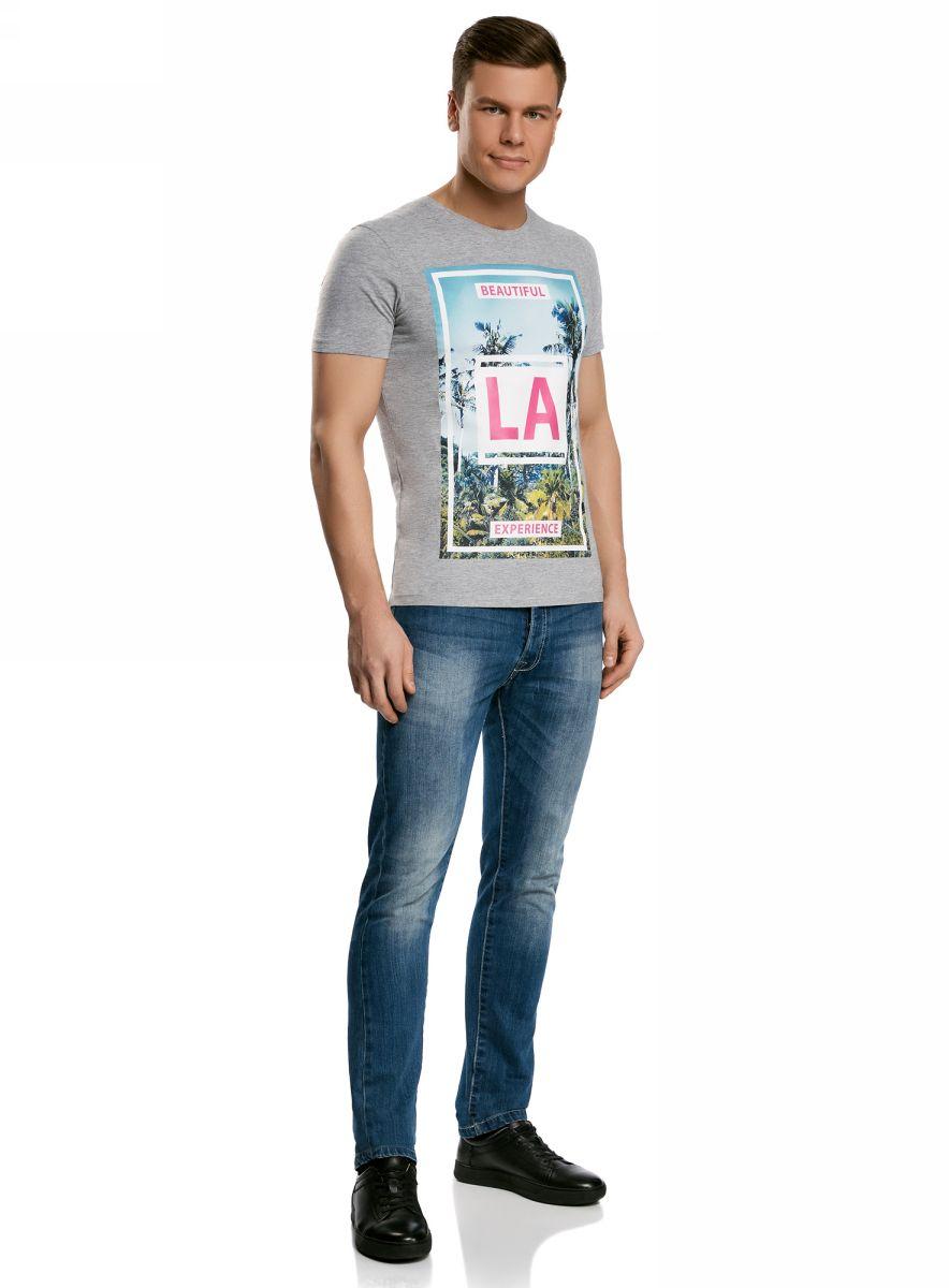 Футболка мужская oodji Lab, цвет: серый, розовый. 5L611346M/39579N/2341P. Размер S (46/48)5L611346M/39579N/2341PМужская футболка с круглым вырезом горловины и короткими рукавами выполнена из хлопка с добавлением вискозы. Спереди модель оформлена летним принтом.