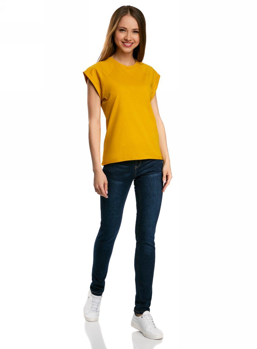 Футболка женская oodji Ultra, цвет: желтый. 14707001B/46154/5200N. Размер XL (50)14707001B/46154/5200NБазовая футболка свободного кроя с круглым вырезом горловины и короткими рукавами-реглан выполнена из натурального хлопка.