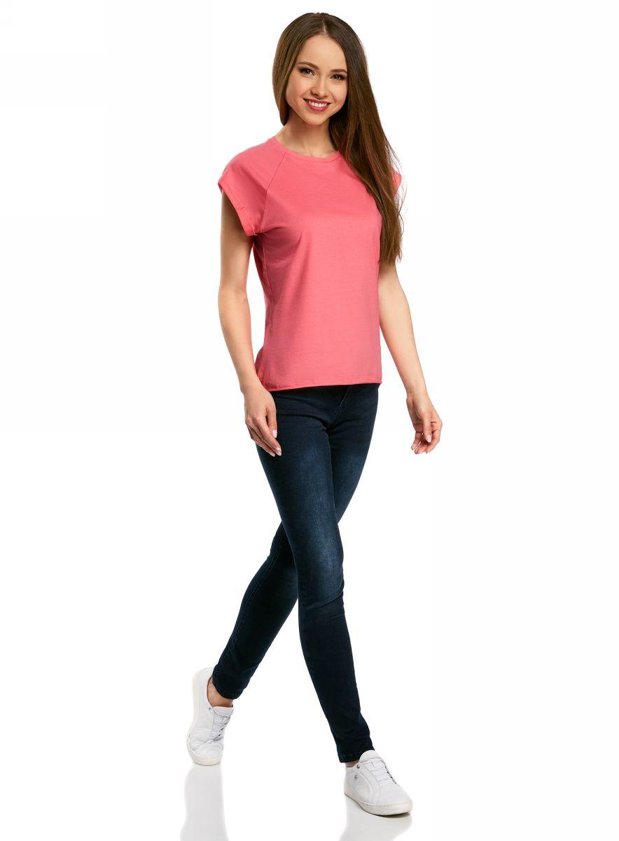 Футболка женская oodji Ultra, цвет: ярко-розовый. 14707001B/46154/4D01N. Размер XXS (40)14707001B/46154/4D01NБазовая футболка свободного кроя с круглым вырезом горловины и короткими рукавами-реглан выполнена из натурального хлопка.