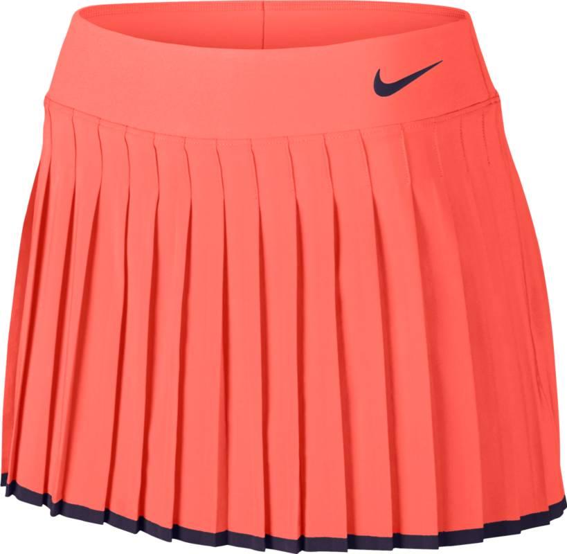 Юбка для тенниса Nike Victory Skirt, цвет: персиковый. 728773-890. Размер S (42/44)728773-890Юбка для тенниса Victory Skirt от Nike выполнена из влагоотводящей ткани Dri - Fit. Модель расклешенного кроя с классическими складками оснащена вшитыми внутренними шортами. Эластичный пояс из материала Powermesh для комфортной посадки.