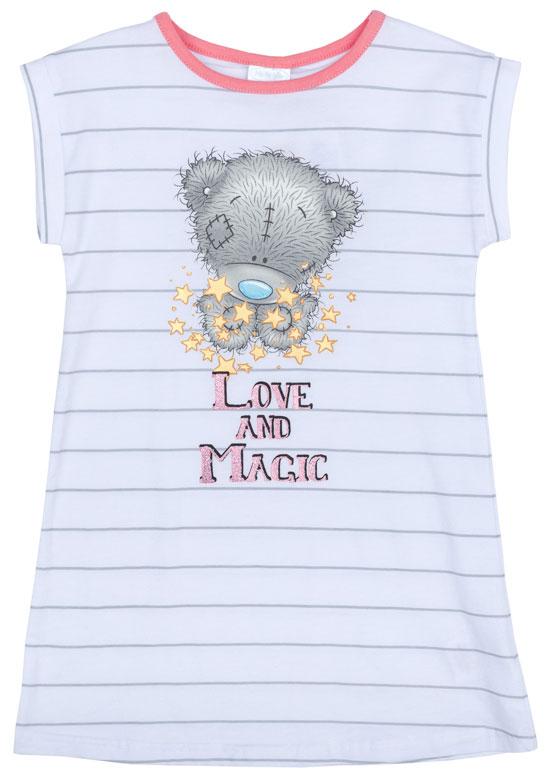 Ночная рубашка для девочки PlayToday, цвет: белый, серый. 676007. Размер 116676007Ночная рубашка для девочки подарит не только комфорт и уют, но и понравится ребенку благодаря своему веселому и приятному дизайну. Изготовленная из эластичного хлопка, она тактильно приятна, хорошо пропускает воздух, а благодаря свободному крою не стесняет движений во сне.