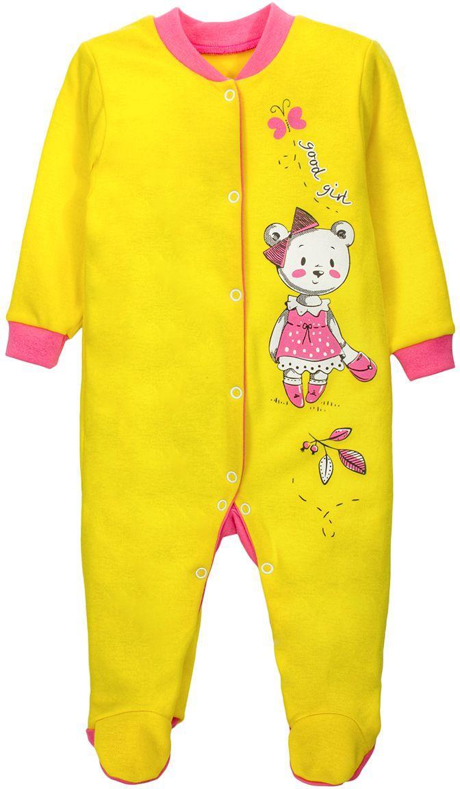 Комбинезон для девочки M&D, цвет: желтый, мультиколор. КБ5030402. Размер 68КБ5030402Комбинезон для девочки M&D - очень удобный и практичный вид одежды для малышей. Комбинезон выполнен из хлопка, благодаря чему он необычайно мягкий и приятный на ощупь, не раздражают нежную кожу ребенка и хорошо вентилируются, а эластичные швы приятны телу малышки и не препятствуют ее движениям. Комбинезон с длинными рукавами и закрытыми ножками имеет застежки-кнопки, которые помогают легко переодеть младенца или сменить подгузник. Спереди он оформлен оригинальным принтом.С детским комбинезоном M&D спинка и ножки вашей малышки всегда будут в тепле, он идеален для использования днем и незаменим ночью. Комбинезон полностью соответствует особенностям жизни младенца в ранний период, не стесняя и не ограничивая его в движениях!