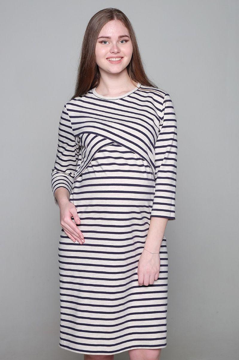 Платье2-НМ 35314Платье для беременных и кормящих Hunny Mammy выполнено из футерного плотного трикотажного полотна. Современная модель платья с круглым вырезом горловины и рукавами 3/4 придется по вкусу многим женщинам. Секрет для кормления малыша расположен под фигурной кокеткой. Изделие оформлено принтом в полоску.