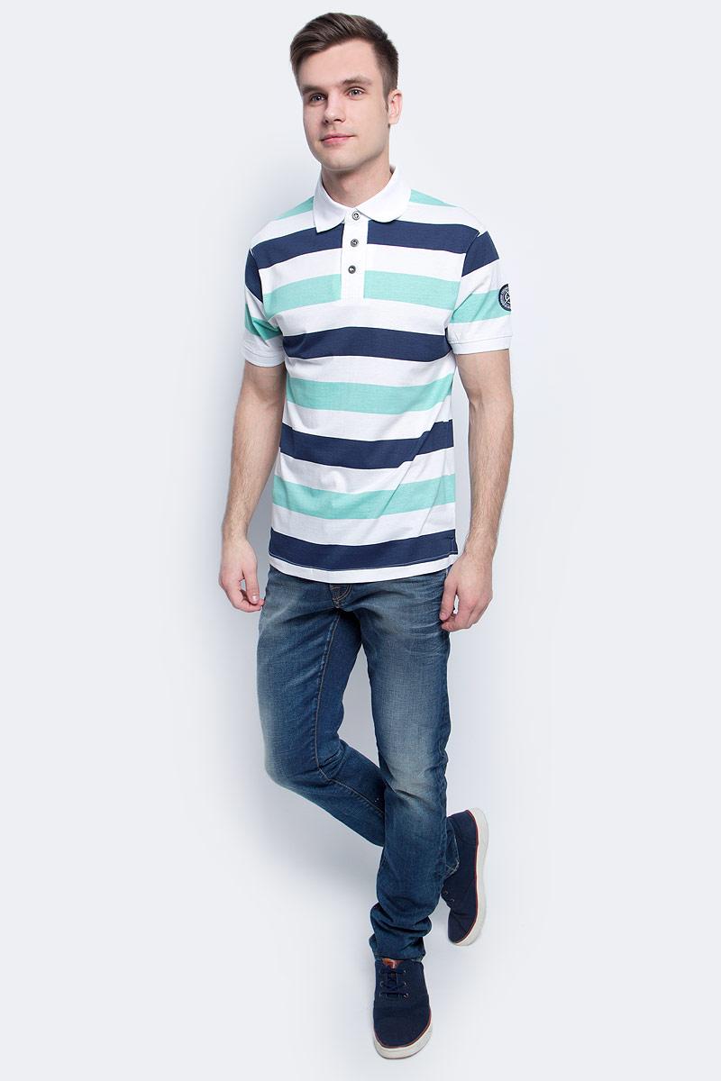 Поло мужское Baon, цвет: белый. B707025_White Striped. Размер XXL (54)B707025_White StripedПоло мужское Baon выполнено из натурального хлопка. Модель с отложным воротником и короткими рукавами застегивается на пуговицы.
