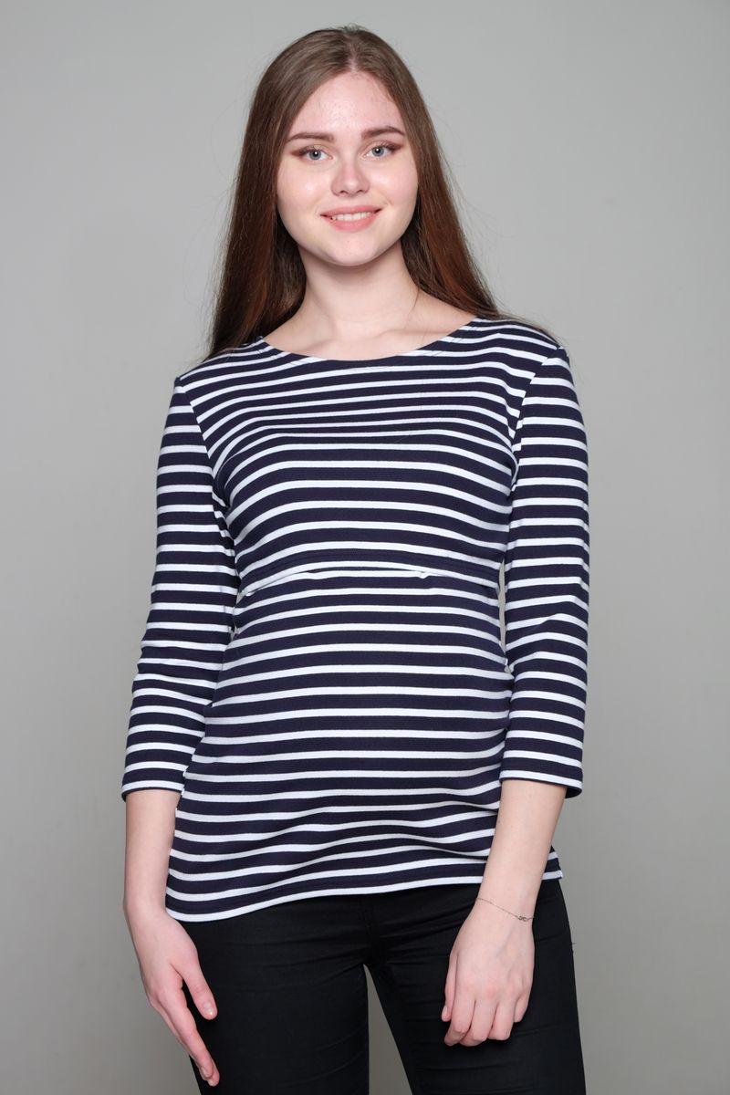 Блузка1-НМ 35504Блузка для беременных и кормящих Hunny Mammy выполнена из натурального хлопка. Модель с круглым вырезом горловины и рукавами 3/4 оформлена принтом в полоску. Во время беременности блузка нежно облегает растущий животик, после рождения малыша удобна классическим горизонтальным секретом для кормления.