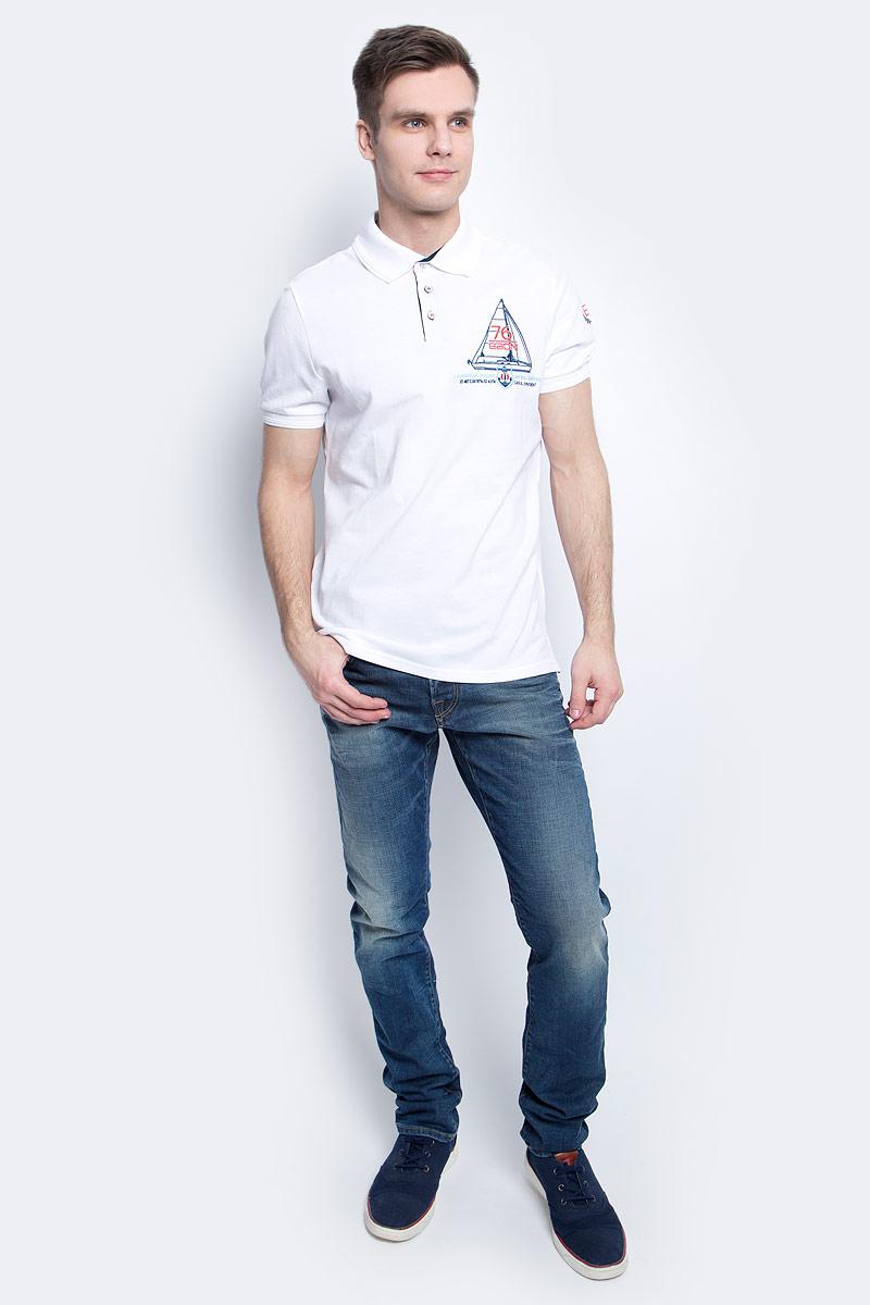 ПолоB707003_WhiteПоло мужское Baon выполнено из натурального хлопка. Модель с отложным воротником и короткими рукавами застегивается на пуговицы.