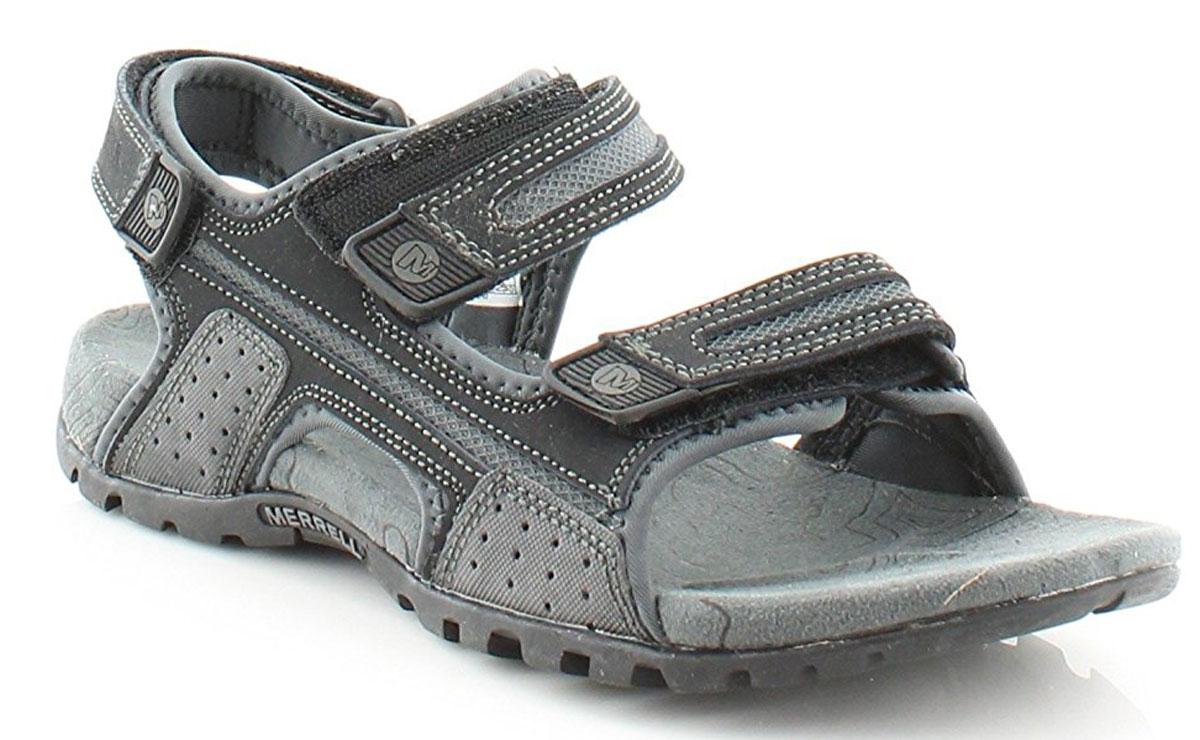 Сандалии276754CНевероятно удобные мужские сандалии от Merrell выручат вас в жаркую погоду. Модель выполнена из натуральной кожи с полиуретановым покрытием. Ремешки на застежках-липучках, дополненные логотипом бренда, обеспечивают прочную фиксацию модели на ноге. Мягкая стелька комфортна при движении. Промежуточная подошва из материала EVA с использованием технологии Air Cushion стабилизирует стопу и поглощает удары при ходьбе. Износостойкая подошва с рифлением обеспечивает надежное сцепление с поверхностью. Стильные сандалии прекрасно дополнят ваш летний образ.