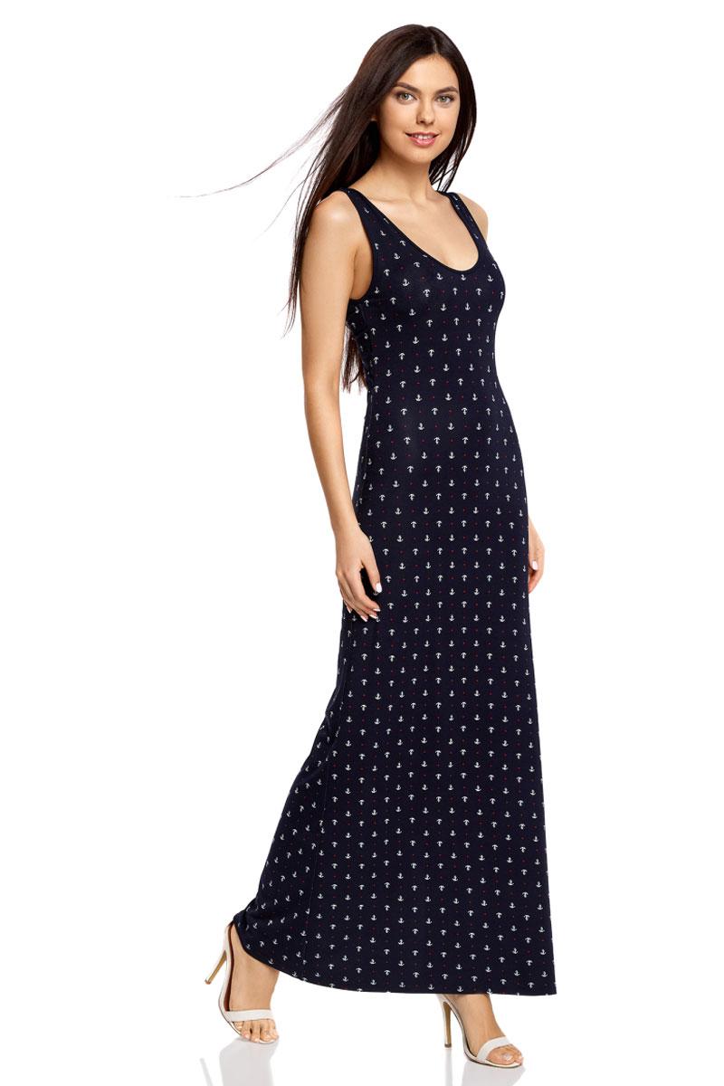Платье14005127-1/42626/7910QЛегкое обтягивающее платье oodji Ultra - модное решение для жарких летних будней. Модель макси-длины с открытыми плечами и глубоким вырезом горловины выполнена из эластичной вискозы и дополнена фигурным разрезом на спинке.