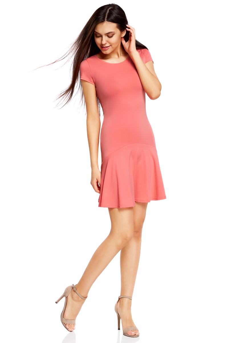 Платье oodji Ultra, цвет: ярко-розовый. 14011017/46384/4D00N. Размер M (46)14011017/46384/4D00NПриталенное платье oodji Ultra с юбкой-воланами выполнено из качественного трикотажа. Модель средней длины с круглым вырезом горловины и короткими рукавами выгодно подчеркнет достоинства фигуры.