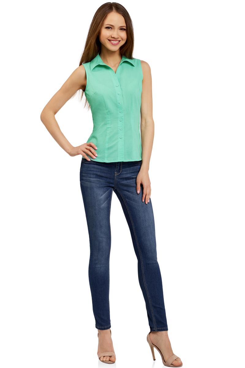Рубашка женская oodji Ultra, цвет: ментоловый. 11405063-4B/45510/6500N. Размер 42-170 (48-170)11405063-4B/45510/6500NРубашка женская oodji Ultra выполнена из высококачественного материала. Модель с отложным воротником застегивается на пуговицы.