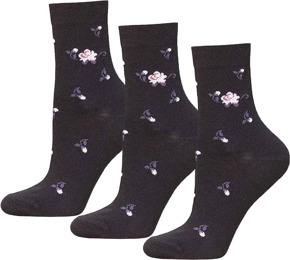 Комплект носков14С1100-013Носки женские средней длины, гладкие, с рисунком по всему носку.