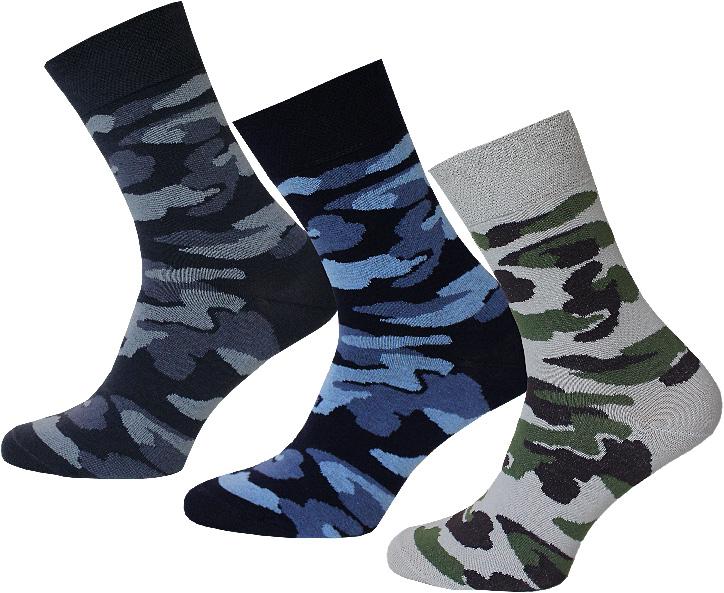 Комплект носков16С2126Носки мужские гладкие, двойной борт, рисунок-защитный .