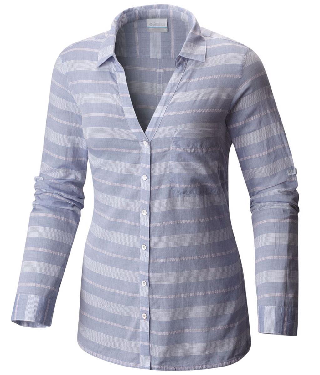 Рубашка1658941-509Женская рубашка Columbia Early Tide LS изготовлена из натурального хлопка. Модель Regular Fit с отложным воротником, V-образным вырезом и длинными закатывающимися рукавами застегивается на пуговицы. Спереди расположен накладной карман. Изделие оформлено принтом.