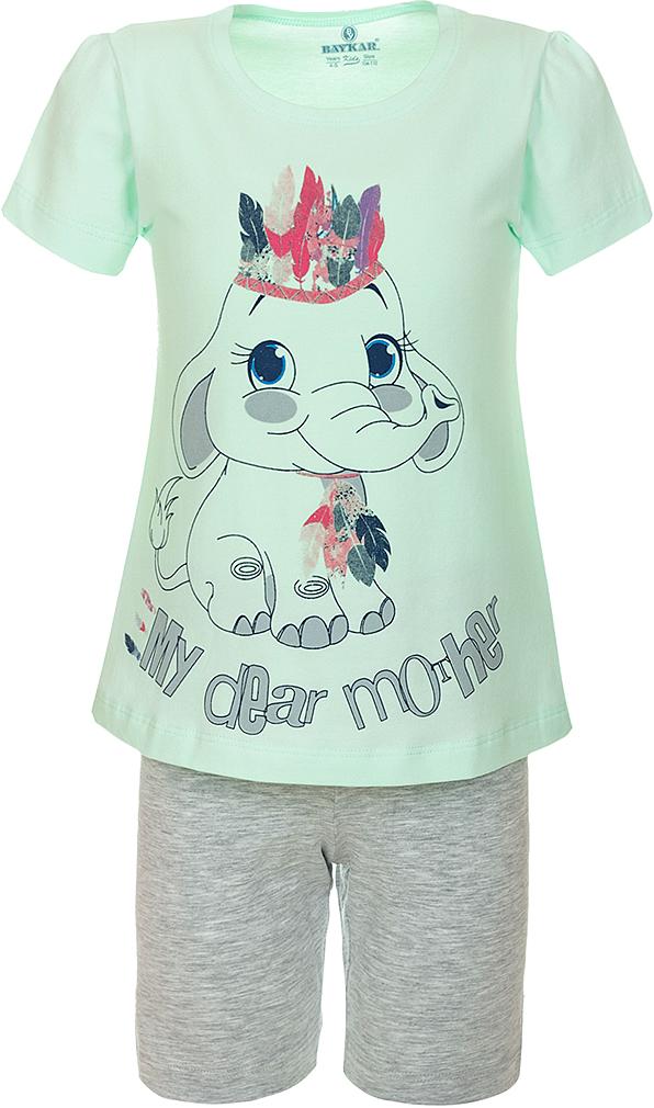 ПижамаN9311240A-13Пижама для девочки Baykar, выполненная из эластичного хлопка, идеально подойдет маленькой принцессе для сна и отдыха. Материал изделия мягкий, тактильно приятный, не сковывает движения, хорошо пропускает воздух. Пижама состоит из футболки с коротким рукавом и шортиков. Футболка с короткими рукавами и круглым вырезом горловины украшена ярким принтом. Шортики имеют на талии мягкую резинку, благодаря чему они не сдавливают животик ребенка и не сползают. Высокое качество исполнения и дизайн принесут удовольствие от покупки и подарят отличное настроение!