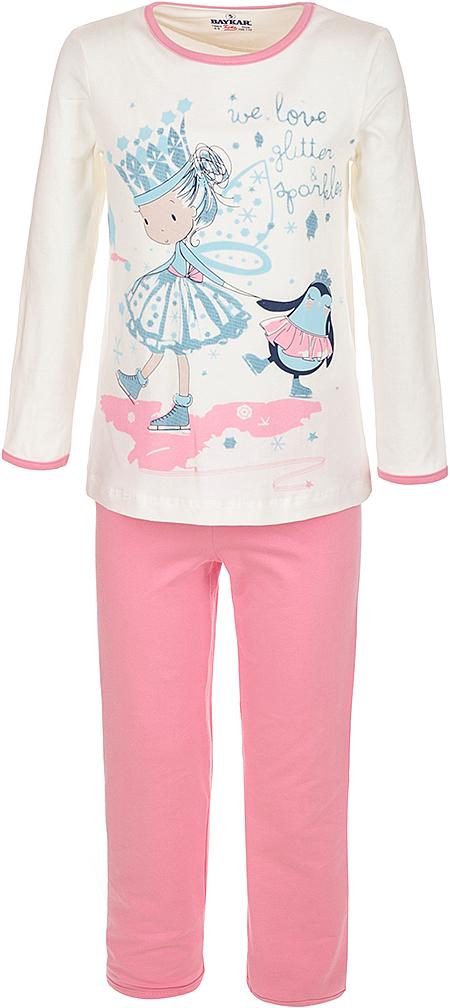 Пижама для девочки Baykar, цвет: молочный, мультиколор. N9001208A-17. Размер 110/116N9001208A-17Мягкая пижама для девочки Baykar, состоящая из футболки с длинным рукавом и брюк, идеально подойдет ребенку для отдыха и сна. Модель выполнена из эластичного хлопка, очень приятная к телу, не сковывает движения, хорошо пропускает воздух. Футболка с круглым вырезом горловины и длинными рукавами оформлена забавным принтом.Брюки на талии имеют мягкую резинку, благодаря чему они не сдавливают животик ребенка и не сползают.В такой пижаме ребенок будет чувствовать себя комфортно и уютно!