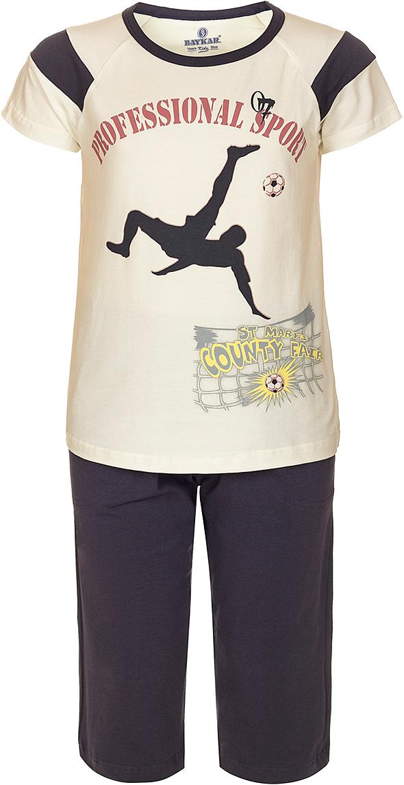 ПижамаN9612208B-17Яркая пижама для мальчика Baykar, состоящая из футболки и шортиков, идеально подойдет вашему малышу и станет отличным дополнением к детскому гардеробу. Пижама, изготовленная из натурального хлопка, необычайно мягкая и легкая, не сковывает движения ребенка, позволяет коже дышать и не раздражает даже самую нежную и чувствительную кожу малыша. Футболка с короткими рукавами и круглым вырезом горловины спереди декорирована принтом. Шортики прямого кроя однотонного цвета на широкой эластичной резинке не сдавливают животик ребенка и не сползают. В такой пижаме ваш маленький непоседа будет чувствовать себя комфортно и уютно во время сна.