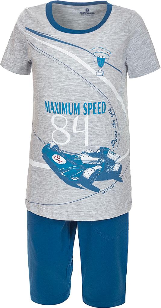 Пижама для мальчика Baykar, цвет: синий, мультиколор. N9611207A-9. Размер 98/104N9611207A-9Яркая пижама для мальчика Baykar, состоящая из футболки и шортиков, идеально подойдет вашему малышу и станет отличным дополнением к детскому гардеробу. Пижама, изготовленная из натурального хлопка, необычайно мягкая и легкая, не сковывает движения ребенка, позволяет коже дышать и не раздражает даже самую нежную и чувствительную кожу малыша. Футболка с короткими рукавами и круглым вырезом горловины спереди декорирована принтом. Шортики прямого кроя однотонного цвета на широкой эластичной резинке не сдавливают животик ребенка и не сползают.В такой пижаме ваш маленький непоседа будет чувствовать себя комфортно и уютно во время сна.