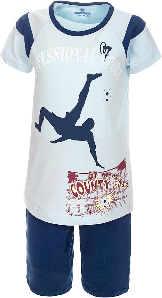 ПижамаN9612207A-9Яркая пижама для мальчика Baykar, состоящая из футболки и шортиков, идеально подойдет вашему малышу и станет отличным дополнением к детскому гардеробу. Пижама, изготовленная из натурального хлопка, необычайно мягкая и легкая, не сковывает движения ребенка, позволяет коже дышать и не раздражает даже самую нежную и чувствительную кожу малыша. Футболка с короткими рукавами и круглым вырезом горловины спереди декорирована принтом. Шортики прямого кроя однотонного цвета на широкой эластичной резинке не сдавливают животик ребенка и не сползают. В такой пижаме ваш маленький непоседа будет чувствовать себя комфортно и уютно во время сна.