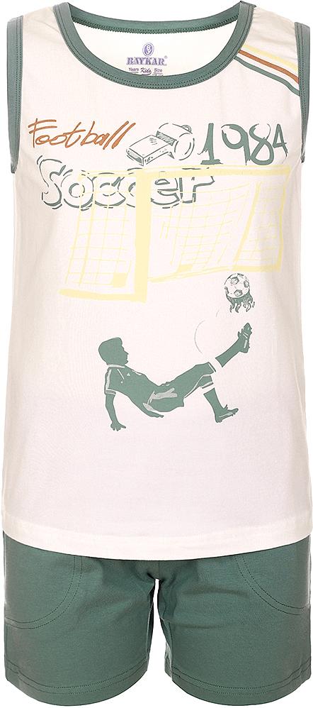 Пижама для мальчика Baykar, цвет: молочный, мультиколор. N9614208A-17. Размер 98/104N9614208A-17Яркая пижама для мальчика Baykar, состоящая из футболки и шортиков, идеально подойдет вашему малышу и станет отличным дополнением к детскому гардеробу. Пижама, изготовленная из натурального хлопка, необычайно мягкая и легкая, не сковывает движения ребенка, позволяет коже дышать и не раздражает даже самую нежную и чувствительную кожу малыша. Футболка без рукавов и круглым вырезом горловины спереди декорирована принтом. Шортики прямого кроя однотонного цвета на широкой эластичной резинке не сдавливают животик ребенка и не сползают.В такой пижаме ваш маленький непоседа будет чувствовать себя комфортно и уютно во время сна.