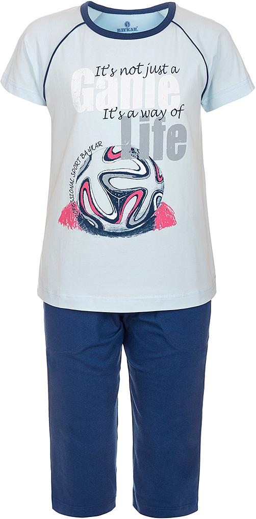 ПижамаN9608207A-9Яркая пижама для мальчика Baykar, состоящая из футболки и шортиков, идеально подойдет вашему малышу и станет отличным дополнением к детскому гардеробу. Пижама, изготовленная из натурального хлопка, необычайно мягкая и легкая, не сковывает движения ребенка, позволяет коже дышать и не раздражает даже самую нежную и чувствительную кожу малыша. Футболка с короткими рукавами и круглым вырезом горловины спереди декорирована принтом. Шортики прямого кроя однотонного цвета на широкой эластичной резинке не сдавливают животик ребенка и не сползают. В такой пижаме ваш маленький непоседа будет чувствовать себя комфортно и уютно во время сна.