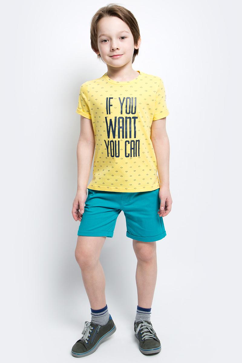 Футболка для мальчика Button Blue Main, цвет: желтый. 117BBBC12042713. Размер 134, 9 лет117BBBC12042713Яркие футболки с рисунком - хит сезона. Динамичный принт создает летнее настроение и делает модель яркой и запоминающейся. Если вы решили купить недорогую футболку для мальчика, обратите внимание на модель от Button Blue. Эта футболка станет выразительным акцентом повседневного образа, сделав каждый комплект оригинальным и необычным.