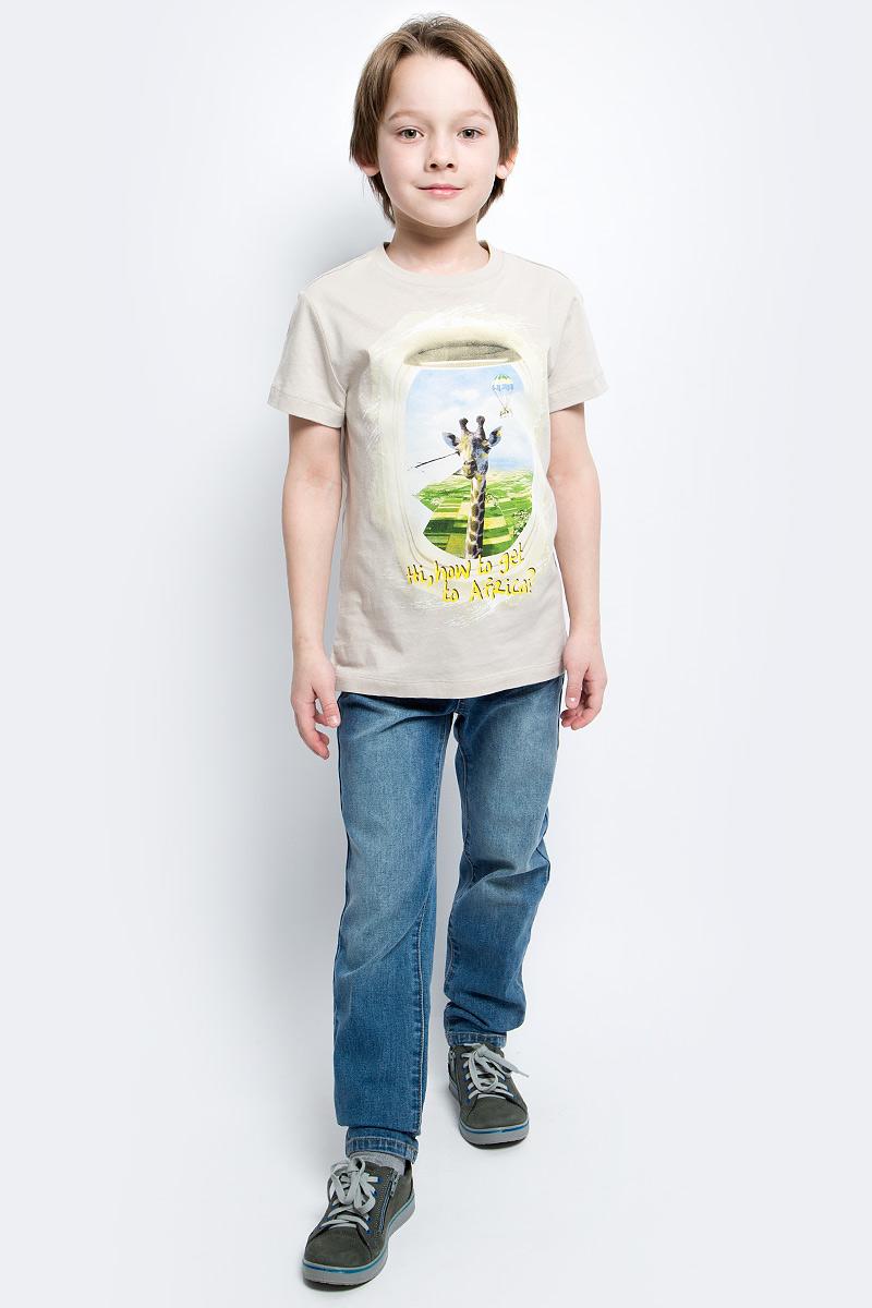 Футболка для мальчика Sela, цвет: серебристо-бежевый. Ts-811/1055-7112. Размер 152Ts-811/1055-7112Стильная футболка для мальчика Sela изготовлена из натурального хлопка и оформлена оригинальным принтом. Воротник дополнен мягкой трикотажной резинкой.Яркий цвет модели позволяет создавать модные образы.