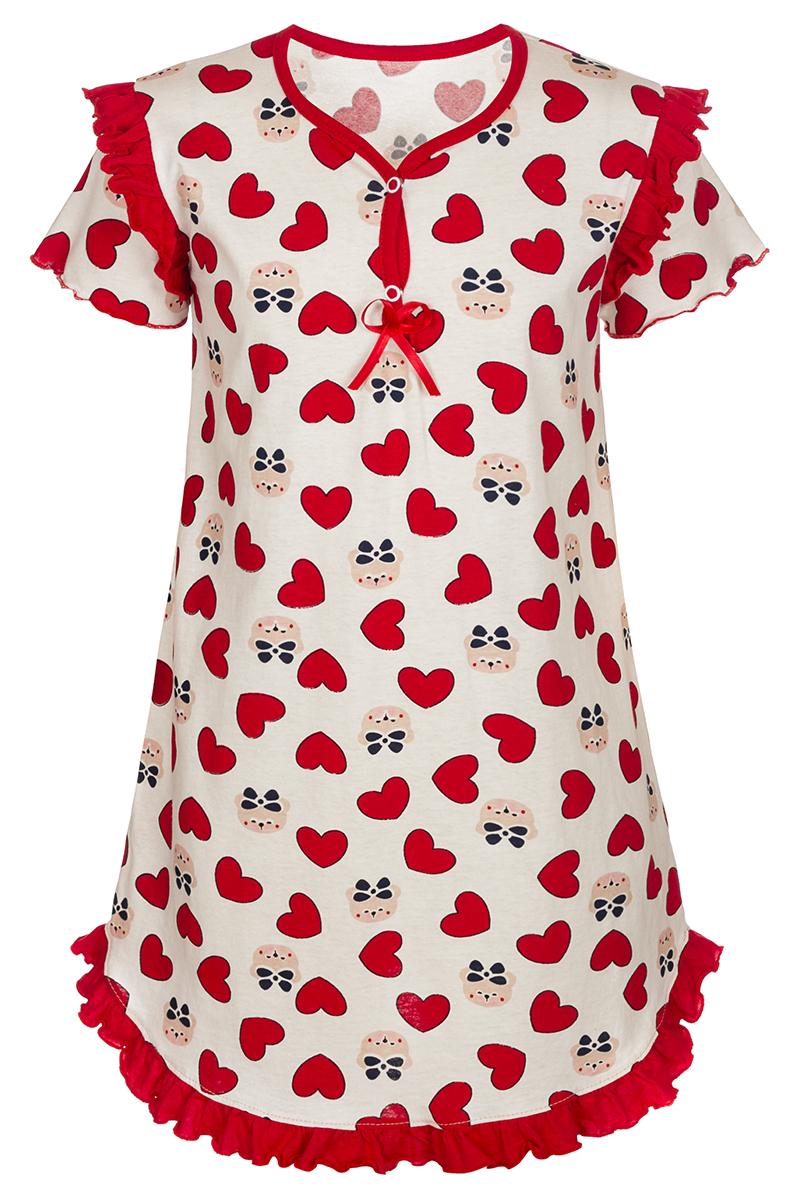 Ночная рубашка для девочки M&D, цвет: молочный, мультиколор. М75017. Размер 104М75017Ночная рубашка для девочки M&D подарит не только комфорт и уют, но и понравится ребенку благодаря своему веселому и приятному дизайну. Изготовленная из мягкого хлопка, она тактильно приятна, хорошо пропускает воздух, а благодаря свободному крою не стесняет движений во сне.Ночная рубашка с V-образным вырезом горловины и короткими рукавами застегивается спереди на две кнопки для быстрого и удобного переодевания. Изделие оформлено принтом с изображением стилизованных мишек и сердечек. Ночная рубашка украшена рюшами по плечевым швам и подолу, бантиком из атласной ленты на груди.