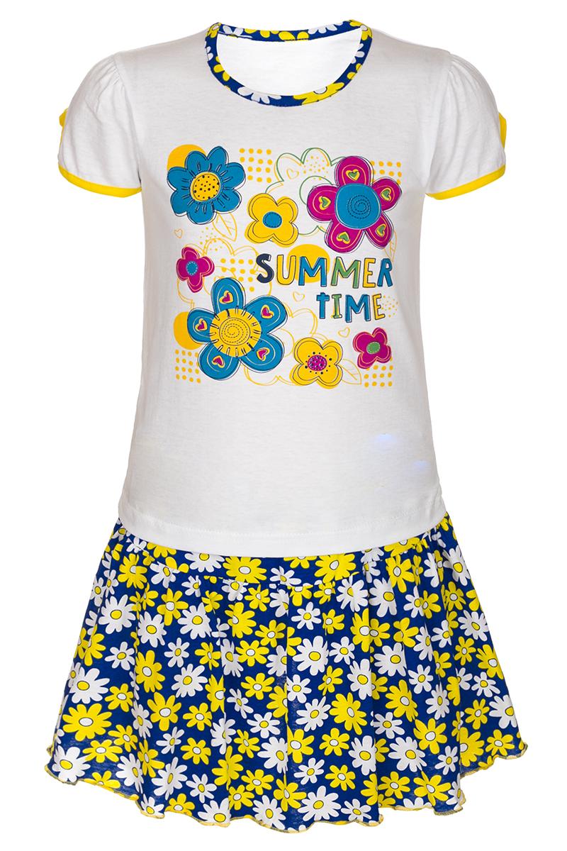 Комплект для девочки M&D: футболка, юбка, цвет: желтый, мультиколор. М16402. Размер 98М16402Комплект для девочки M&D выполнен из натурального хлопка. В комплект входит футболка и юбка. Футболка с круглым вырезом горловины украшена принтом. Юбка дополнена эластичной резинкой на талии.