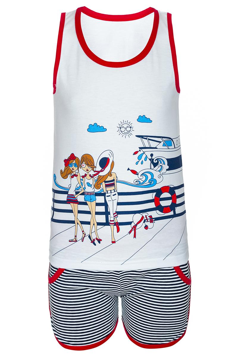 Комплект одеждыМ14501Комплект для девочки M&D выполнен из натурального хлопка. В комплект входит майка и шорты. Майка с круглым вырезом горловины украшена принтом. Шорты дополнены эластичной резинкой на талии.