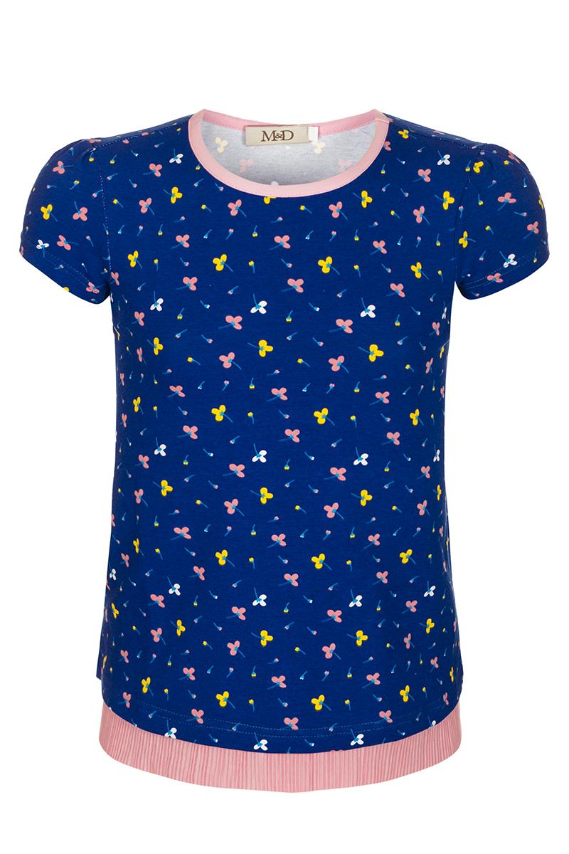 БлузкаSJR27033M77Блузка для девочки M&D выполнена из хлопка. Модель с круглым вырезом горловины и короткими рукавами оформлена оригинальным принтом.