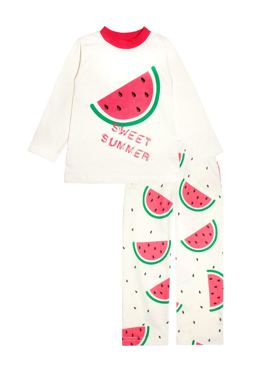 Пижама16637Пижама для девочки КотМарКот изготовлена из натурального хлопка и состоит из кофточки и брючек. Кофточка выполнена с длинными рукавами и удобным круглым воротом. Штанишки на талии собраны на эластичную резинку. Пижама оформлена оригинальным термопринтом.