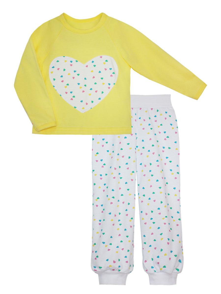Пижама для девочки КотМарКот, цвет: желтый, белый. 16514. Размер 11016514Пижама для девочки КотМарКот изготовлена из натурального хлопка и состоит из кофточки и брючек. Кофточка выполнена с длинными рукавами и удобным круглым воротом. Штанишки на талии собраны на эластичную резинку. Кофточка оформлена крупной оригинальной аппликацией в виде сердца. Манжеты брюк, рукавов и горловина кофты отделаны эластичными мягкими резинками.
