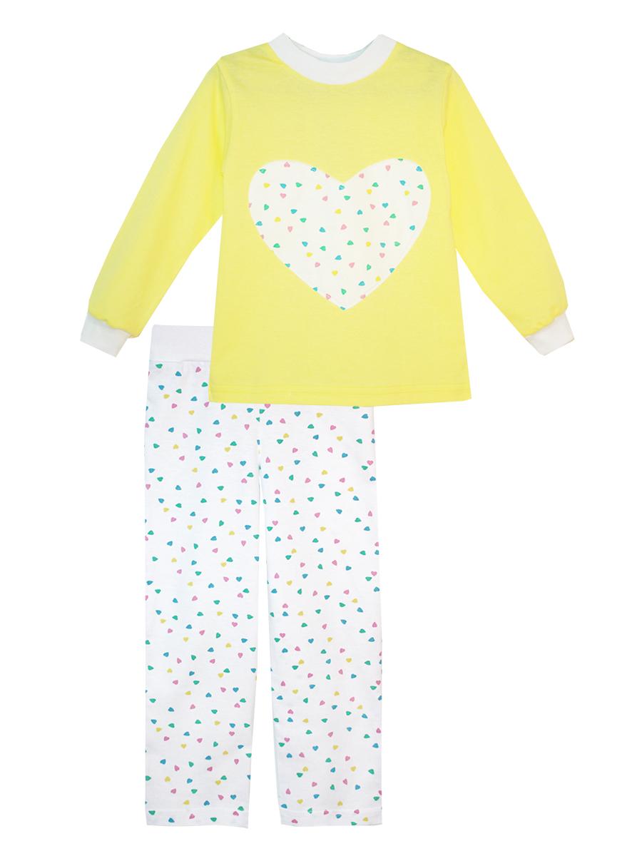 Пижама16614Пижама для девочки КотМарКот изготовлена из натурального хлопка и состоит из кофточки и брючек. Кофточка выполнена с длинными рукавами и удобным круглым воротом. Штанишки на талии собраны на эластичную резинку. Кофточка оформлена крупной оригинальной аппликацией в виде сердца. Манжеты рукавов и горловина кофты отделаны эластичными мягкими резинками.