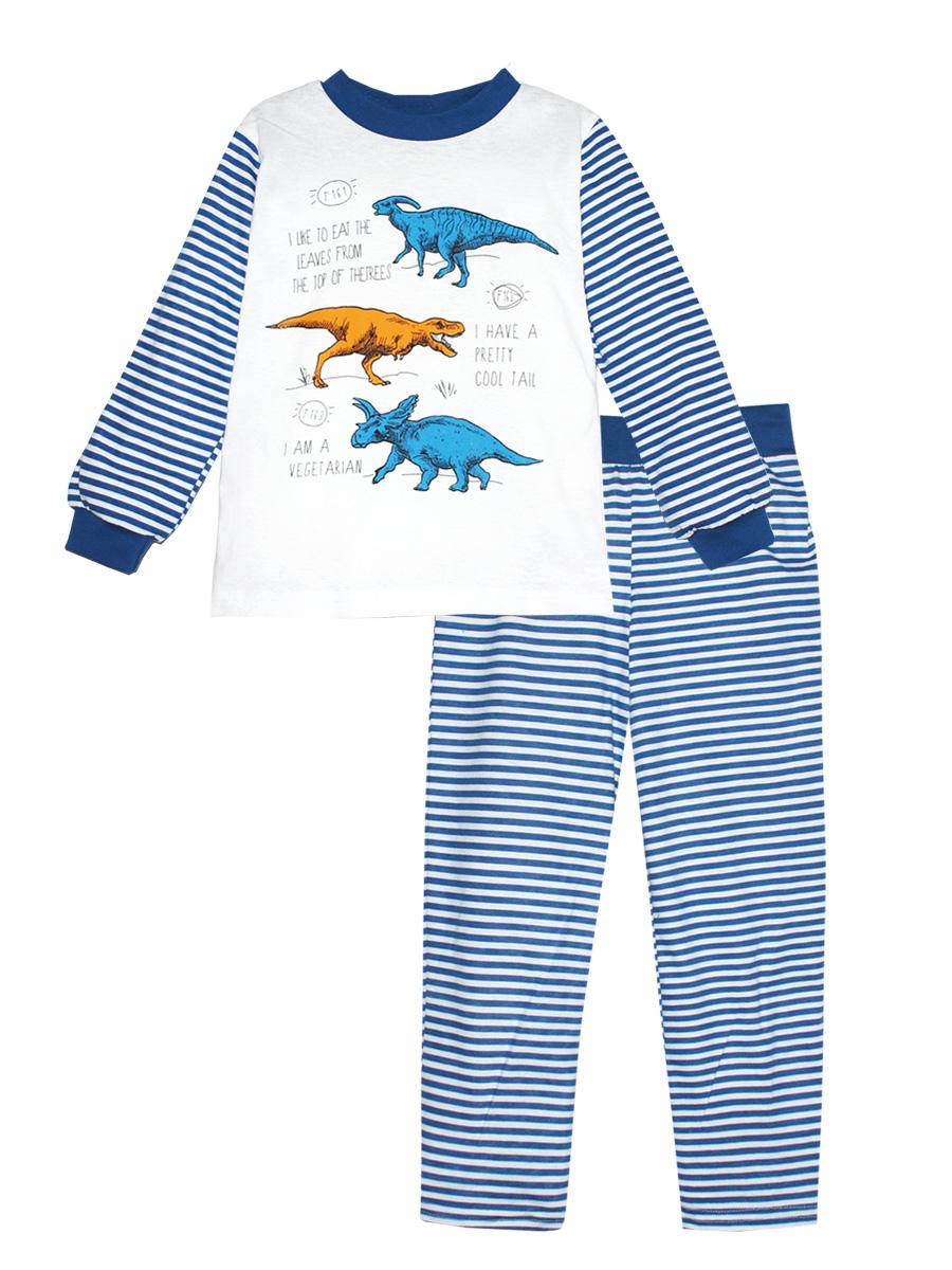 Пижама для мальчика КотМарКот, цвет: белый, синий. 16611. Размер 10416611Пижама для мальчика КотМарКот выполнена из натурального хлопка и состоит из кофточки и брючек в полоску. Кофточка выполнена с длинными рукавами и удобным круглым воротом. Штанишки на талии собраны на эластичную резинку. Кофточка дополнена манжетами на рукавах и оформлена оригинальным принтом с динозаврами.