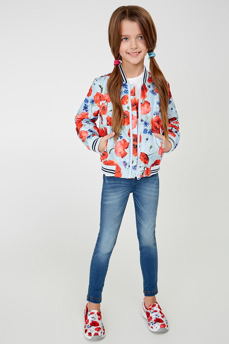 Куртка20220130087_8000Легкая куртка-бомбер утепленная тонким слоем синтепона, декорированная ярким цветочным принтом. Модель с подкладкой из полиэстера, воротником-стойкой, прорезными карманами и трикотажными резинками на манжетах и по низу изделия.