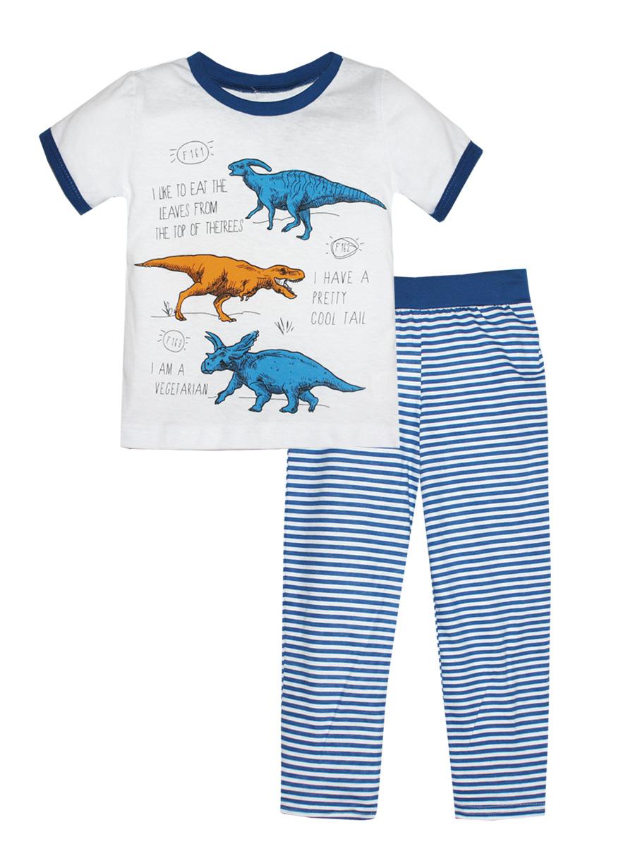 Пижама16710Пижама для мальчика КотМарКот выполнена из натурального хлопка и состоит из футболки и брючек в полоску. Футболка выполнена с короткими рукавами и удобным круглым воротом. Штанишки на талии собраны на эластичную резинку. Футболка оформлена оригинальным принтом с динозаврами.