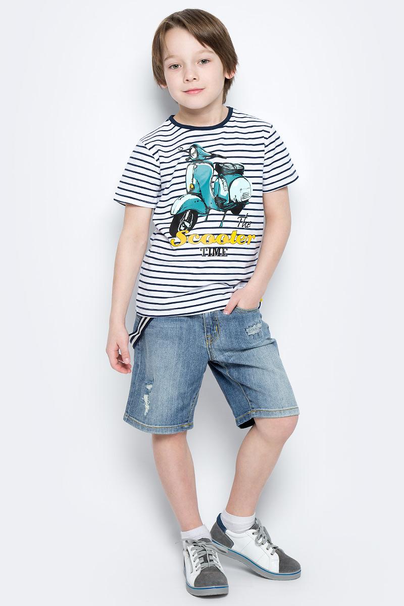 Шорты для мальчика PlayToday, цвет: синий. 171157. Размер 122171157Удлиненные шорты PlayToday из натуральной джинсовой ткани с прорезями и эффектом потертости идеально подойдут для отдыха и прогулок. Модель со шлевками, при необходимости можно использовать ремень. В качестве декора предлагается стильный пояс на карабинах.