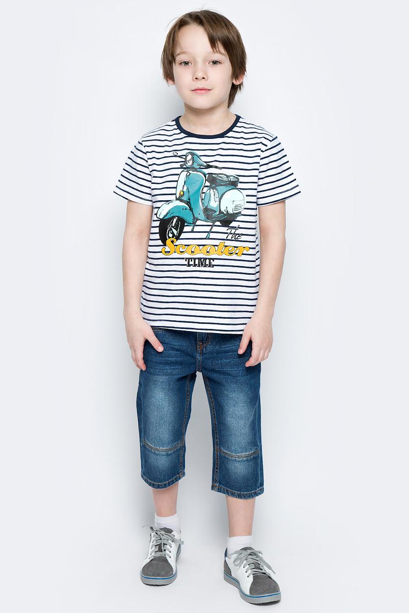Футболка для мальчика PlayToday, цвет: белый, темно-синий, голубой, желтый. 171159. Размер 104171159Футболка для мальчика PlayToday выполнена из эластичного хлопка. Модель с круглым вырезом горловины и короткими рукавами оформлена оригинальным принтом.