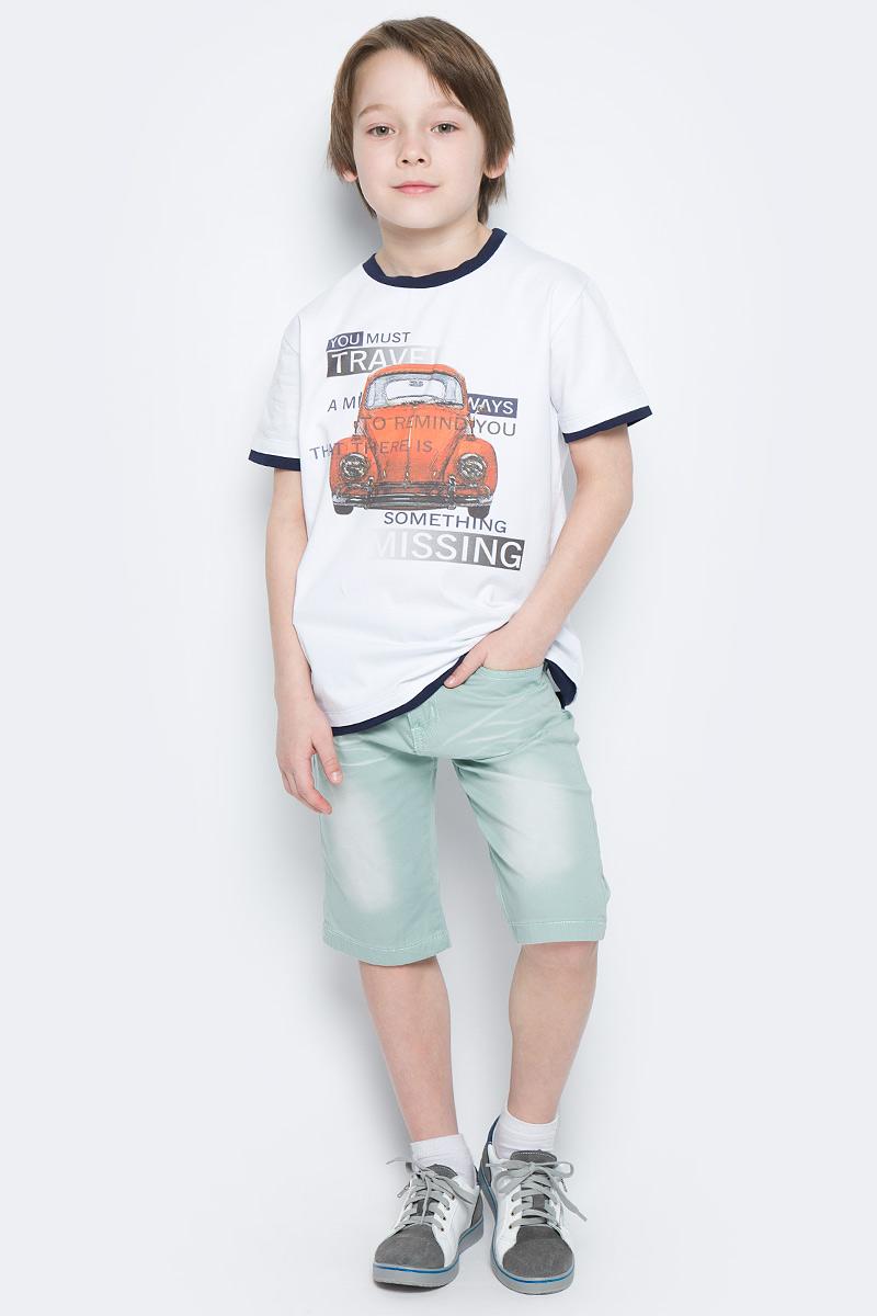 ШортыSS162B410-14Стильные шорты для мальчика Nota Bene идеально подойдут для активного отдыха и прогулок. Изготовленные из хлопка с добавлением эластана, они необычайно мягкие и приятные на ощупь, не сковывают движения и позволяют коже дышать, не раздражают даже самую нежную и чувствительную кожу, обеспечивая наибольший комфорт. Удобные шортики застегиваются на пуговицу в поясе и ширинку на застежке-молнии и имеют шлевки для ремня. С внутренней стороны пояс регулируется резинкой на пуговицах. Шортики имеют классический пятикарманный крой: спереди модель дополнена двумя втачными карманами и одним маленьким накладным кармашком, а сзади - двумя накладными карманами. Модель оформлена перманентными складками и декоративными потёртостями. В комплект входит текстильный эластичный ремешок, выполненный узором косичка. Оригинальный современный дизайн и модная расцветка делают эти шорты модным и стильным предметом детского гардероба. В них ваш ребенок всегда будет в центре внимания!