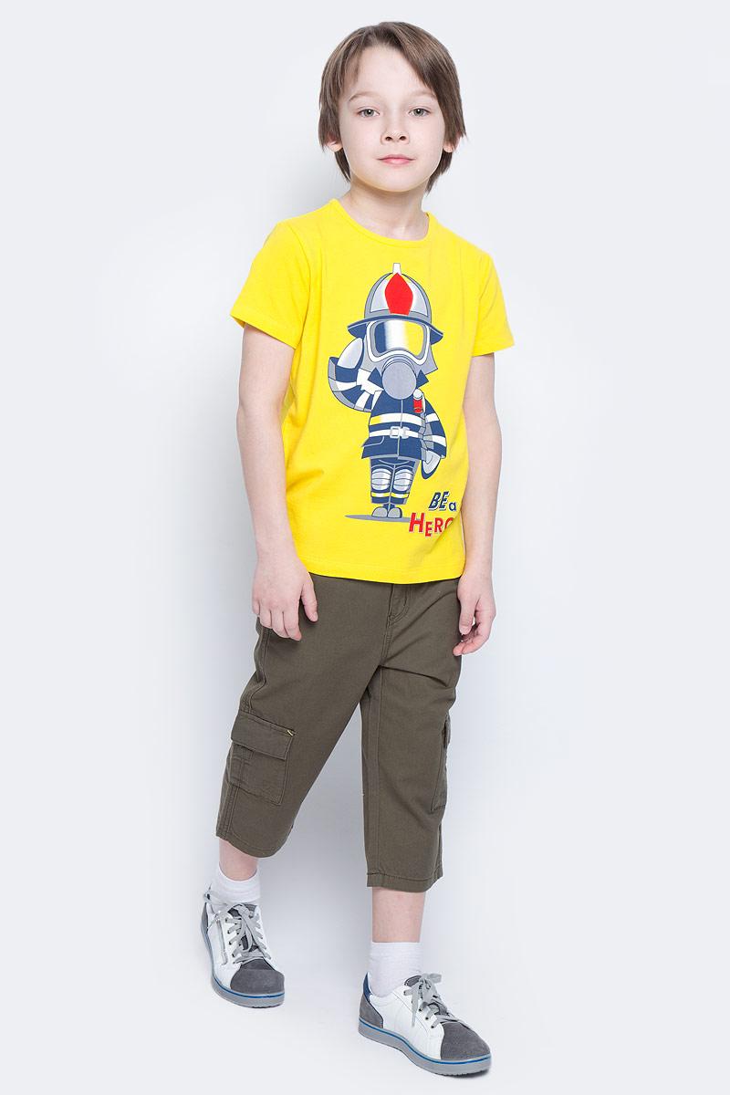 Бриджи для мальчика PlayToday, цвет: темно-зеленый. 171108. Размер 98171108Бриджи из натуральной плотной ткани в стиле сафари прекрасно подойдут вашему ребенку для отдыха и прогулок. Модель со шлевками для ремня. Декорированы удобными накладными карманами.