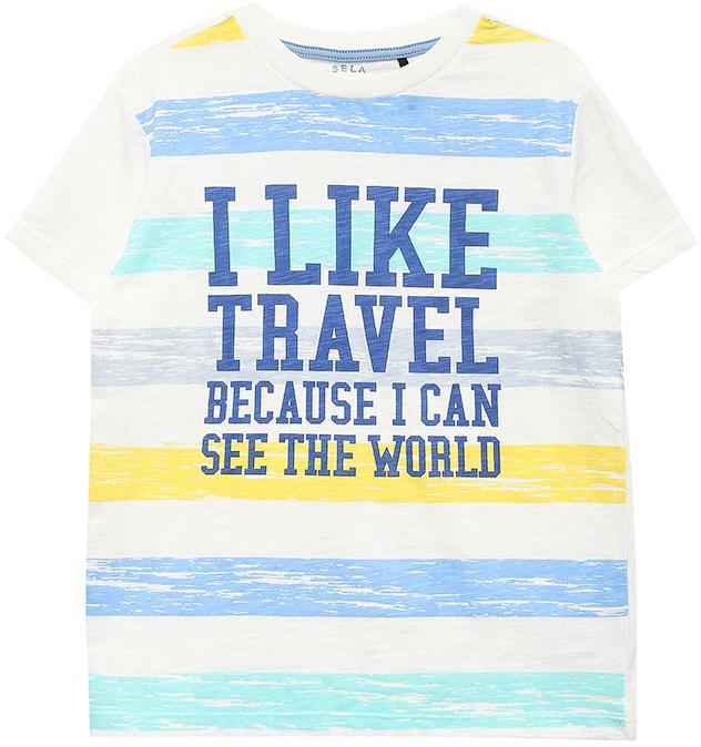 ФутболкаTs-811/591-7215Стильная футболка для мальчика Sela изготовлена из натурального хлопка и оформлена оригинальным принтом. Воротник дополнен мягкой трикотажной резинкой. Яркий цвет модели позволяет создавать модные образы.