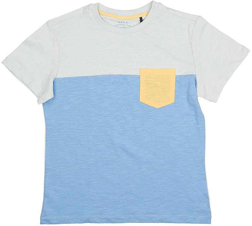 ФутболкаTs-811/586-7215Стильная футболка для мальчика Sela изготовлена из натурального хлопка. Полочка футболки выполнена из материала двух цветов и дополнена контрастным накладным кармашком, спинка однотонная. Воротник дополнен мягкой трикотажной резинкой. Яркий цвет модели позволяет создавать модные образы.