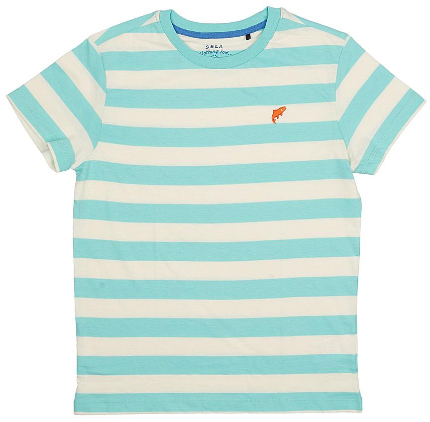 ФутболкаTs-811/1075-7213Стильная футболка для мальчика Sela изготовлена из натурального хлопка и оформлена принтом в полоску. Воротник дополнен мягкой трикотажной резинкой. Яркий цвет модели позволяет создавать модные образы.