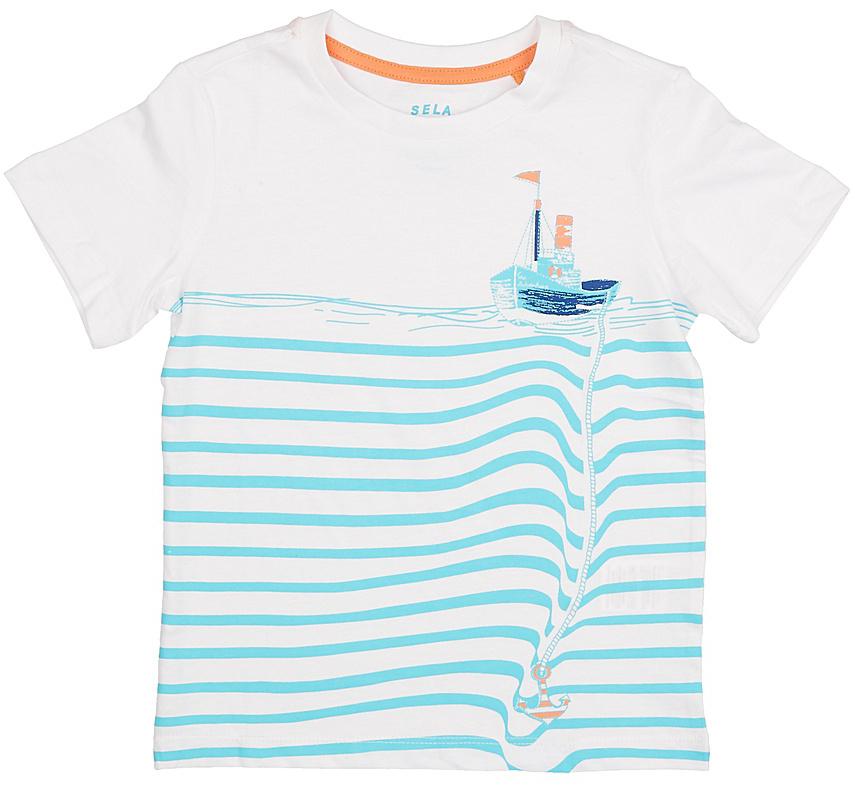 Футболка для мальчика Sela, цвет: белый. Ts-711/200-7213. Размер 116, 6 летTs-711/200-7213Стильная футболка для мальчика Sela изготовлена из натурального хлопка и оформлена оригинальным принтом. Воротник дополнен мягкой трикотажной резинкой.Яркий цвет модели позволяет создавать модные образы.