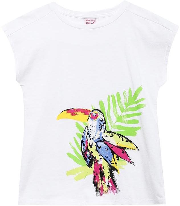 ФутболкаTs-611/971-7244Яркая футболка для девочки Sela станет отличным дополнением к гардеробу юной модницы. Модель прямого кроя изготовлена из натурального хлопка и оформлена оригинальным принтом. Воротник дополнен мягкой эластичной бейкой.