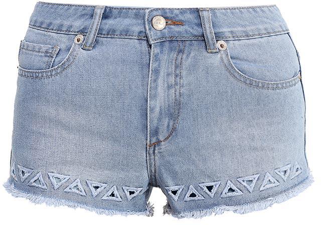 Шорты женские Sela Denim, цвет: голубой джинс. SHJ-335/601-7214. Размер 30 (46/48)SHJ-335/601-7214Женские джинсовые шорты Sela, изготовленные из качественного хлопкового материала, станут отличным дополнением гардероба в летний период. Короткие шорты прилегающего кроя и стандартной посадки на талии застегиваются на застежку-молнию и пуговицу и оформлены фигурными разрезами и бахромой по низу. На поясе имеются шлевки для ремня. Модель дополнена двумя втачными и накладным карманами спереди и двумя накладными карманами сзади.