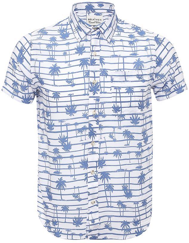 Рубашка мужская Sela, цвет: белый. Hs-212/764-7214. Размер 43 (50)Hs-212/764-7214Стильная мужская рубашка Sela выполнена из легкого материала и оформлена принтом в горизонтальную полоску с изображением пальм. Модель прямого кроя с короткими рукавами и отложным воротничком застегивается на пуговицы и дополнена накладным карманом на груди.Яркий цвет модели позволяет создавать стильные летние образы.
