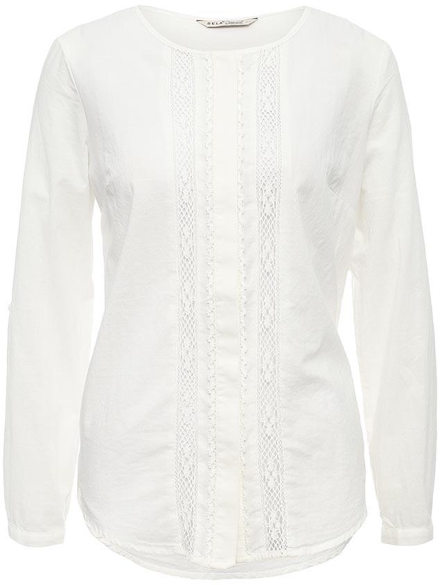 БлузкаB-112/1191-7223Оригинальная женская блузка Sela выполнена из натурального хлопка и оформлена ажурными вставками. Модель прямого кроя с круглым вырезом горловины застегивается на пуговицы, скрытые планкой. Манжеты длинных рукавов также дополнены пуговицами. Блузка подойдет для офиса, прогулок и дружеских встреч и будет отлично сочетаться с джинсами и брюками, и гармонично смотреться с юбками. Мягкая ткань комфортна и приятна на ощупь. Рукава можно подвернуть и зафиксировать при помощи хлястиков на пуговицах.